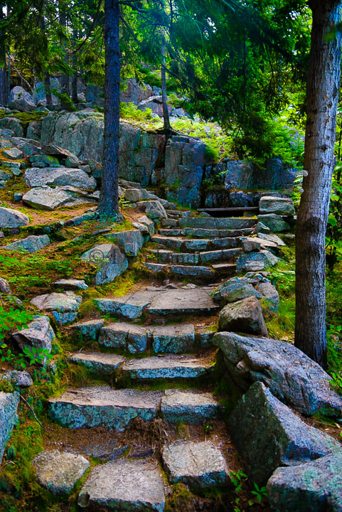 Stone path leading up a hill.